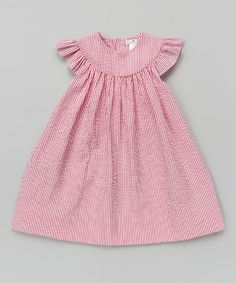 Love this Red Stripe Angel-Sleeve Dress - Toddler by Petit Ami on #zulily! #zulilyfinds