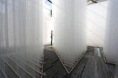 deve build architecture layers woven fiberglass labyrinth in shenzhen  www.designboom.com