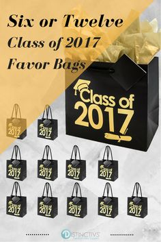 "Each graduation bag has ""Class of 2017"" with a grad cap and diploma printed on one side in gold foil lettering."
