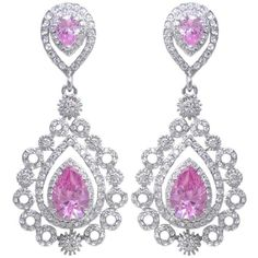 EVER FAITH Wedding Victorian Style Pattern Teardrops Dangle Earrings... (36 NZD) ❤ liked on Polyvore featuring jewelry, earrings, long dangle earrings, long teardrop earrings, pink teardrop earrings, zircon earrings and crystal earrings