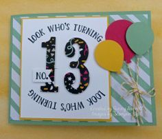 Number of Years, Large Numbers Framelits, It's My Party DSP, Balloon Bouquet Punch. All Stampin' Up products.