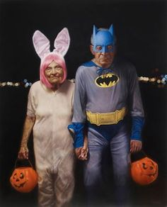 TRICK or TREAT / American artist Jason Bard Yarmosky, a graduate of the School of Visual Arts, is best known for his series of paintings, Elder Kinder. These works juxtapose youth with old age, and explore the social connotations of aging. Vieux Couples, Old Couples, Cute Couples, Romantic Couples, Growing Old Together, Old Folks, Batman, Man Ray, American Artists