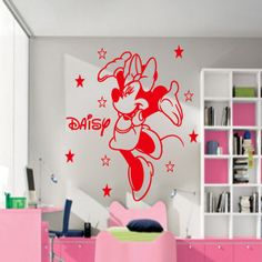 WALL STICKER DISNEY THEME MICKEY SWEET DREAMS Personalised Bedroom Decal LRG