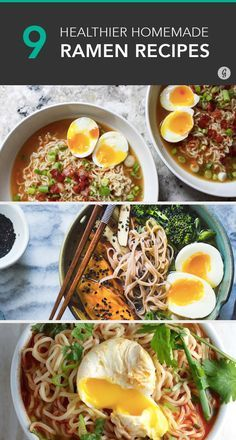 9 DIY Ramen Recipes That'll Make You Kick Instant Noodles to the Curb — Forget the cup o'noodles from your college years. These ramen recipes are tastier and healthier! Soup Recipes, Cooking Recipes, Healthy Recipes, Delicious Recipes, Easy Ramen Recipes, Ramen Noodle Recipes Homemade, Healthy Japanese Recipes, Cooking Corn, Ramin Noodle Recipes