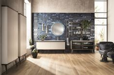 Open Worrkshop Industrial Style bathroom by Scavolini and Diesel Living against a blue tiled wall Modern Bathroom Paint, Small Bathroom Paint Colors, Bathroom Color Schemes, Contemporary Bathroom Designs, Bathroom Trends, Bathroom Interior Design, Bathroom Styling, Bathroom Storage, Master Bathroom