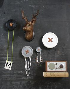 Scandinavian Design, HK Living Button Wall Hook Small for the sewing room. Pretty Things, Design3000, Clothes Hooks, Blog Deco, Button Crafts, Button Art, Room Organization, Discount Designer, Wall Hooks