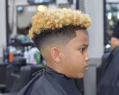 If you're on the lookout for a mohawk hairstyle idea to men with thick hair, you may want to look at the slightly shaggy appearance. Little Black Boy Haircuts, Black Boy Hairstyles, Little Black Boys, Braided Mohawk Hairstyles, Haircuts For Curly Hair, Cool Haircuts, Curly Hair Styles, Updo Hairstyle, Braided Updo