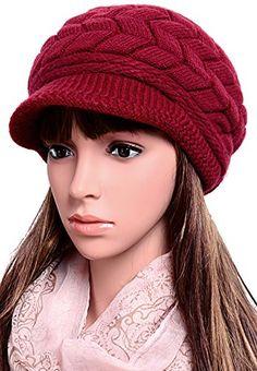 7e6e3e6c6b0 ODEMA Women s Rabbit Hair Wool Blend Winter Kintted Cap With Visor... Winter  Cap