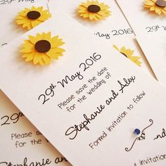 Sunflower save the date cards. #summerweddings #sunflowerwedding #sunflowertheme #savethedate #weddinginvitations  www.ohsopurrfect.co.uk  www.facebook.com/ohsopurrfect