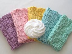 Crochet Washcloths & Scrubbie Spa Set  Easter by TalicakeCrochet