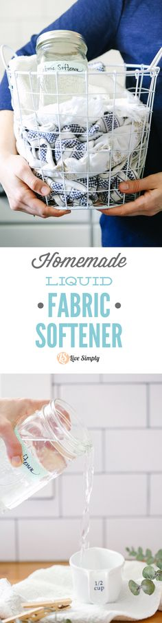 """This is seriously so easy! A fabric softener """"made"""" using one pantry ingredient. Leaves laundry soft and fluffy, and costs just pennies per load of laundry. I'll never go back to store-bought laundry softener. Household Cleaning Schedule, Diy Home Cleaning, Homemade Cleaning Products, Cleaning Recipes, Natural Cleaning Products, Cleaning Hacks, Diy Products, Homemade Fabric Softener, Limpieza Natural"""