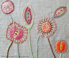 "Flowers embroidered on a textured, nubby green-grey/taupe background. The perfect wall-color to let the ""stuff"" pop."