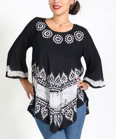Look what I found on #zulily! Black & White Abstract Peasant Top - Plus…