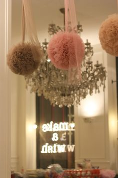 hanging tulle balls-did this for lily b's bday party last year. Tulle Pompoms, Tulle Balls, Wedding Ideias, Bridal Shower, Baby Shower, Shower Party, Event Decor, Making Ideas, Pretty In Pink