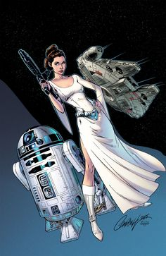 Star Wars: Princess Leia by J Scott Campbell Star Trek, Star Wars Art, Princesa Leia, Princesa Disney, Carrie Fisher, Film Science Fiction, Fan Fiction, J Scott Campbell, Star Wars Girls