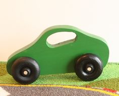 Toy Green Car - Handcrafted Wooden Green Toy Car