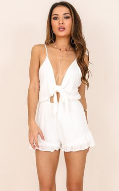 They All Fall playsuit in white