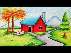 Very easy drawing scenery of winter season step by step.I use CROWN Oil Pastel.It is a clear-cut,easily understood detailed method to help you. Basic Drawing For Kids, Scenery Drawing For Kids, Drawing Lessons For Kids, Art Drawings For Kids, Easy Drawings, Art Lessons, Hipster Drawings, Couple Drawings, Drawing Tips