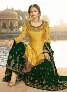 yellow and green embroidered gharara suit.this outfit is perfect for mehndi night. to get this customized hand embroidery outfit contact us… Pakistani Gharara, Pakistani Bridal Dresses, Pakistani Dress Design, Pakistani Outfits, Indian Dresses, Indian Wedding Outfits, Bridal Outfits, Indian Outfits, Gharara Designs