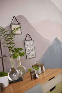 Paint effect mural with neutrals