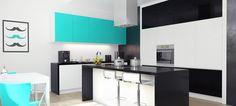 Kuchnia z efektowną wyspą w stylu Tiffany Blue - więcej na 24pro.pl