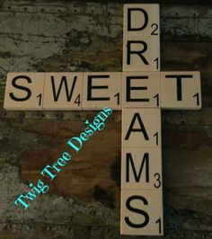 """3"""" x 3"""" scrabble tiles :)   These are great baby shower gifts"""