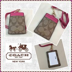 Coach Lanyard Pink and tan leather Coach lanyard with a card holder. Coach Accessories