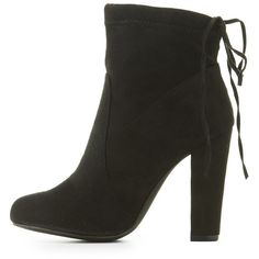 Charlotte Russe Tie-Back Sock Booties ($23) ❤ liked on Polyvore featuring shoes, boots, ankle booties, black, block heel boots, faux suede booties, charlotte russe, faux suede boots and charlotte russe boots