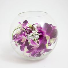 Wedding Flowers - Table Centre of Singapore Orchids curled inside a Globe Vase with silver wire 16.5cm tall Also available with white orchids - £28.50