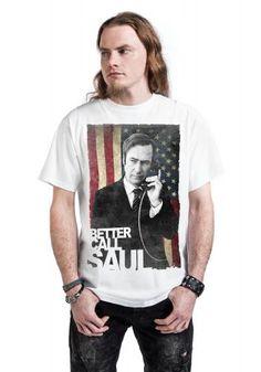 """Classica T-Shirt uomo bianca """"Saul Goodman USA Flag"""" della serie televisiva #BetterCallSaul."""