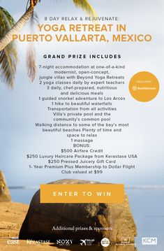 Hopefully I'll get lucky in 2020 and win this amazing yoga retreat in Mexico! Vacation Destinations, Dream Vacations, Wellness Tips, Health And Wellness, Places To Travel, Places To Go, Puerto Vallarta, Yoga Retreat, Travel Goals