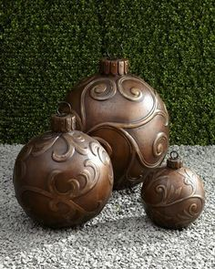 Use any glass ball ornament, then use a hot glue type glue to make design, let dry, then spray paint..    followpics.co