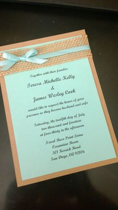 Beach themed aqua blue, kraft brown and burlap wedding invitation on Etsy, $2.25