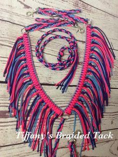 Fringe breast collar horse paracord horse by TiffanysBraidedTack