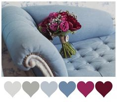 Dusty Blue + Burgundy: roses and silver brunia berries
