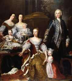 Augusta, Princess of Wales with Members of her Family & Household, 1739, Jean-Baptiste van Loo. An unusual portrait mixing members of a royal family with members of a royal household. Modern viewers might also mistake Sir William Irby, Vice-Chamberlain to the Princess, denoted by gold key hanging from his pocket, for the Princess's husband; 18thC viewers would have known that had this been the case he'd be standing at the Princess's right hand, a position here occupied by the infant George III