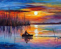 This colorful and meditative fisherman painting by Leonid Afremov will make a great decoration for any room! Oil on canvas, palette knife. Lake Painting, City Painting, Oil Painting Abstract, Watercolor Paintings, Art Paintings, Watercolor Artists, Indian Paintings, Simple Oil Painting, Oil Painting Flowers
