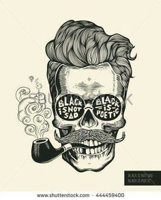 Hipster skull silhouette with mustache, beard, tobacco pipes and glasses… Skull. Hipster skull silhouette with mustache, beard, tobacco pipes and glasses…
