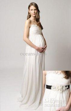 Wholesale 2012 Hot Chiffon Column Strapless Floor Length Ruffled Flower Maternity Wedding Dress/Bridal Gown, Free shipping, $87.36-104.16/Piece | DHgate