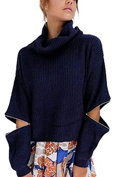 Womens High Turtle Neck Knit Casual Loose Blouse Sweater Pullover Jumper Black * Check out the image by visiting the link.