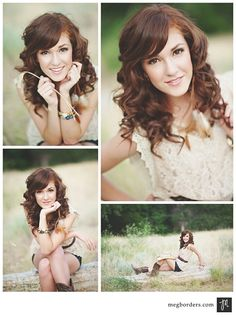 These are senior portrait ideas but I just really like her hair color, curls, and fair skin. Very pretty.