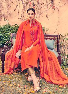 Trendy Faux Chiffon Embroidered Work Churidar Designer Suit
