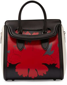 Alexander McQueen Heroine Printed Leather Satchel Bag, Black/Red/White on shopstyle.com
