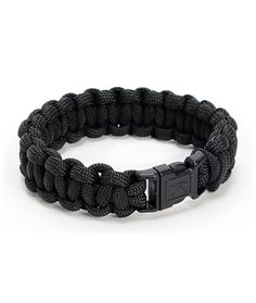 The Rothco Paracord black bracelet has a military inspired look that is as tough as it is comfortable. This soft polyester bracelet is made from military grade chord that can hold over 700lbs of weight, comes in all black, and has a black plastic clip to
