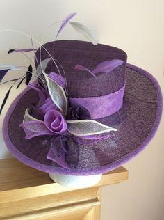 Purple sinamay occasion hat  BY HELEN TILLEY  #millinery #hats #HatAcademy