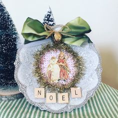 Shabby Chic Christmas Holiday Decoration Gift Whimsical Vintage Theme White Glittered Frame with Victorian Children Christmas Illustration by OliveandTrixie on Etsy