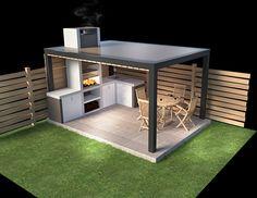 rigged furniture outdoor kitchen barbecue model in 2019 Modern Outdoor Kitchen, Build Outdoor Kitchen, Backyard Kitchen, Outdoor Kitchens, Kitchen Grill, Restaurant Kitchen, Backyard Patio Designs, Pergola Patio, Backyard Landscaping