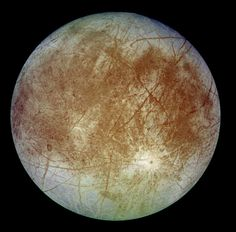 Europa. The cracked, icy surface of Europa. The smoothness of the surface has led many scientists to conclude that oceans exist beneath it. Credit: NASA/JPLredit: NASA