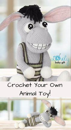 Easy Crochet Pattern to make Amigurumi Donkey Animal Toy – Nutztiere Crochet Animal Patterns, Stuffed Animal Patterns, Amigurumi Patterns, Crochet Animals, Themed Nursery, Nursery Room, Farm Animal Toys, Softie Pattern, Crochet Dragon