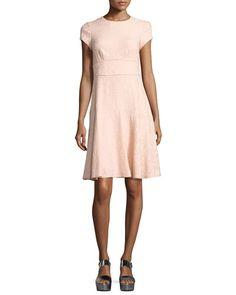 Cap-Sleeve Paisley Jacquard Dress, Pink